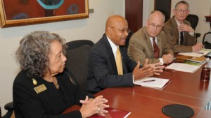 Pictured from left: Dr. Mary E. Benjamin, vice chancellor, University of Arkansas Pine Bluff; Dr. Calvin Johnson, interim chancellor, University of Arkansas Pine Bluff; Clifton M. Smart III, president, Missouri State; and Dr. Frank Einhellig, provost, Missouri State; sign an agreement to improve diversity at both campuses.