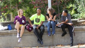 Students hang out on campus
