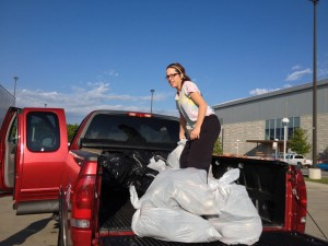 Missouri State students Kaitlyn Hahs (pictured) and Katie Brocaille collected 487 pairs of shoes for Stomp Out Hunger.