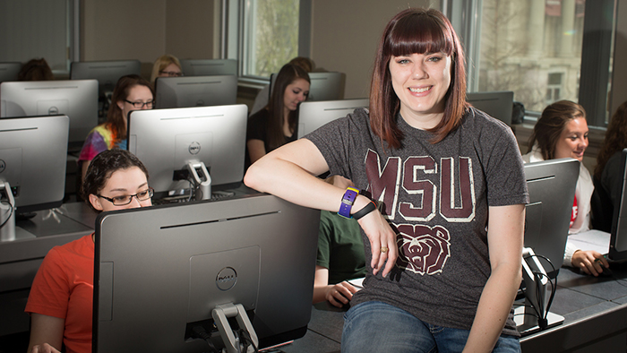 Dr. Erin Buchanan in a classroom.