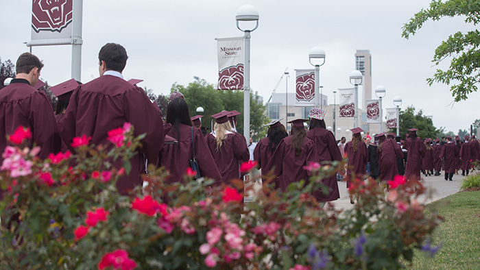 Students during commencement in summer 2014.