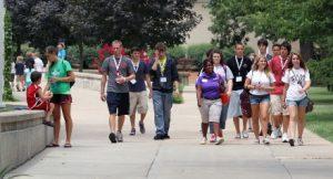 Students walk through campus.