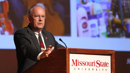 President Clif Smart gives the State of the University address