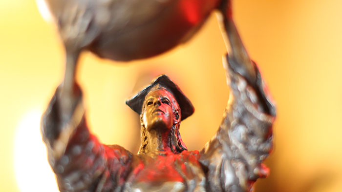 An image of the Public Affairs statue close up.
