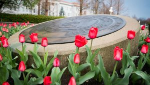 Missouri State University seal with tulips