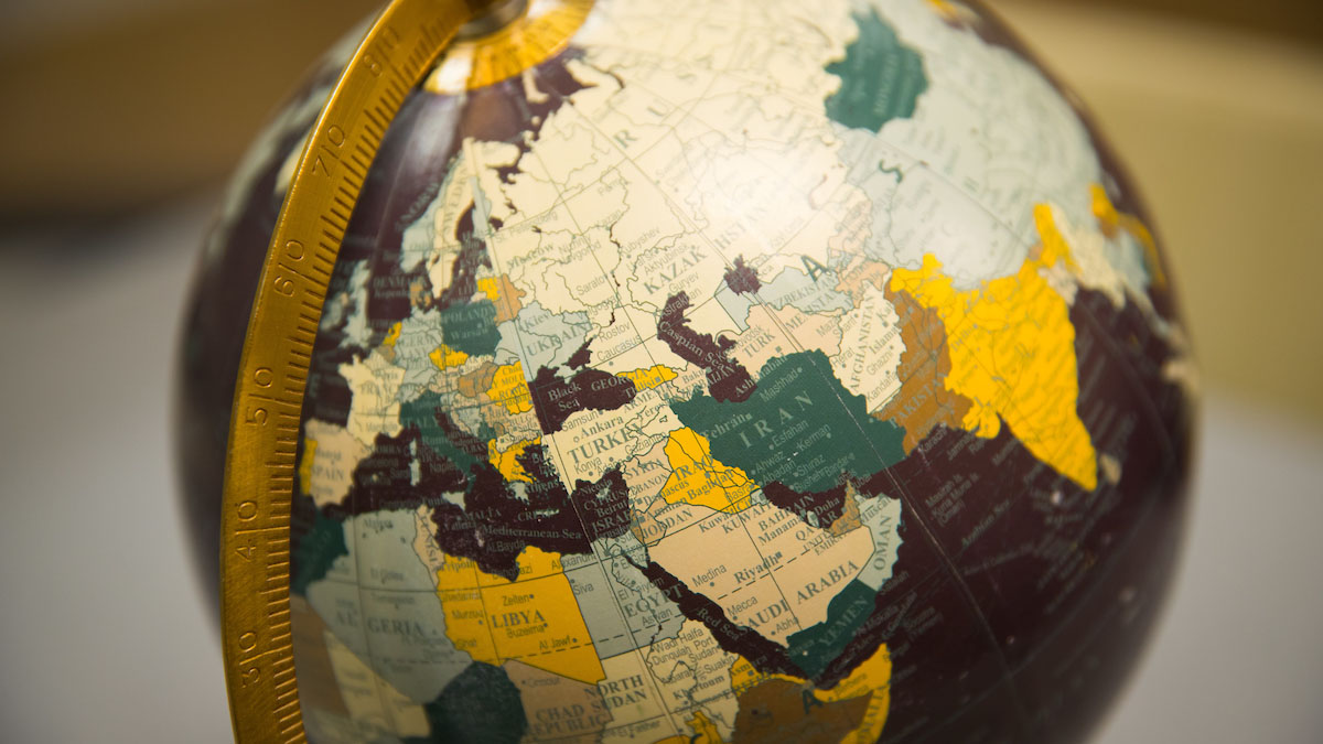 A globe with the Middle East