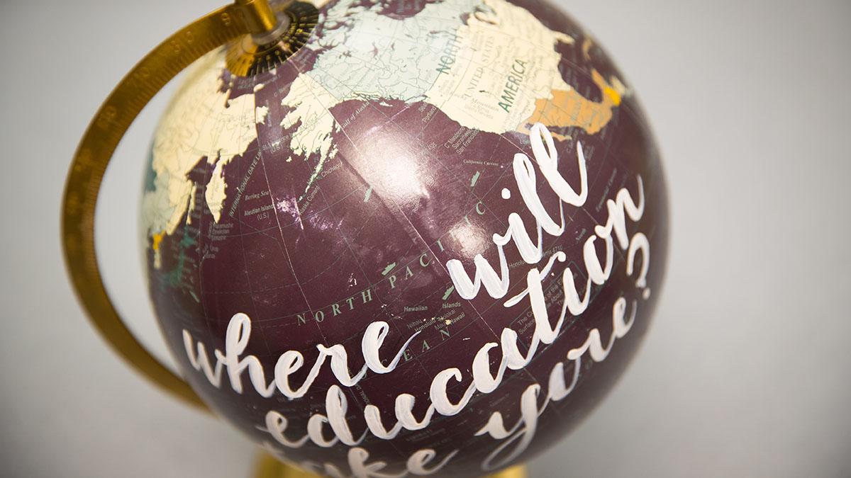 A maroon globe
