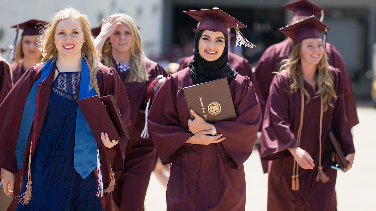 Female students at a past commencement