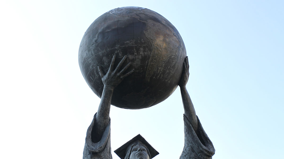 A close-up image of the public affairs statue.