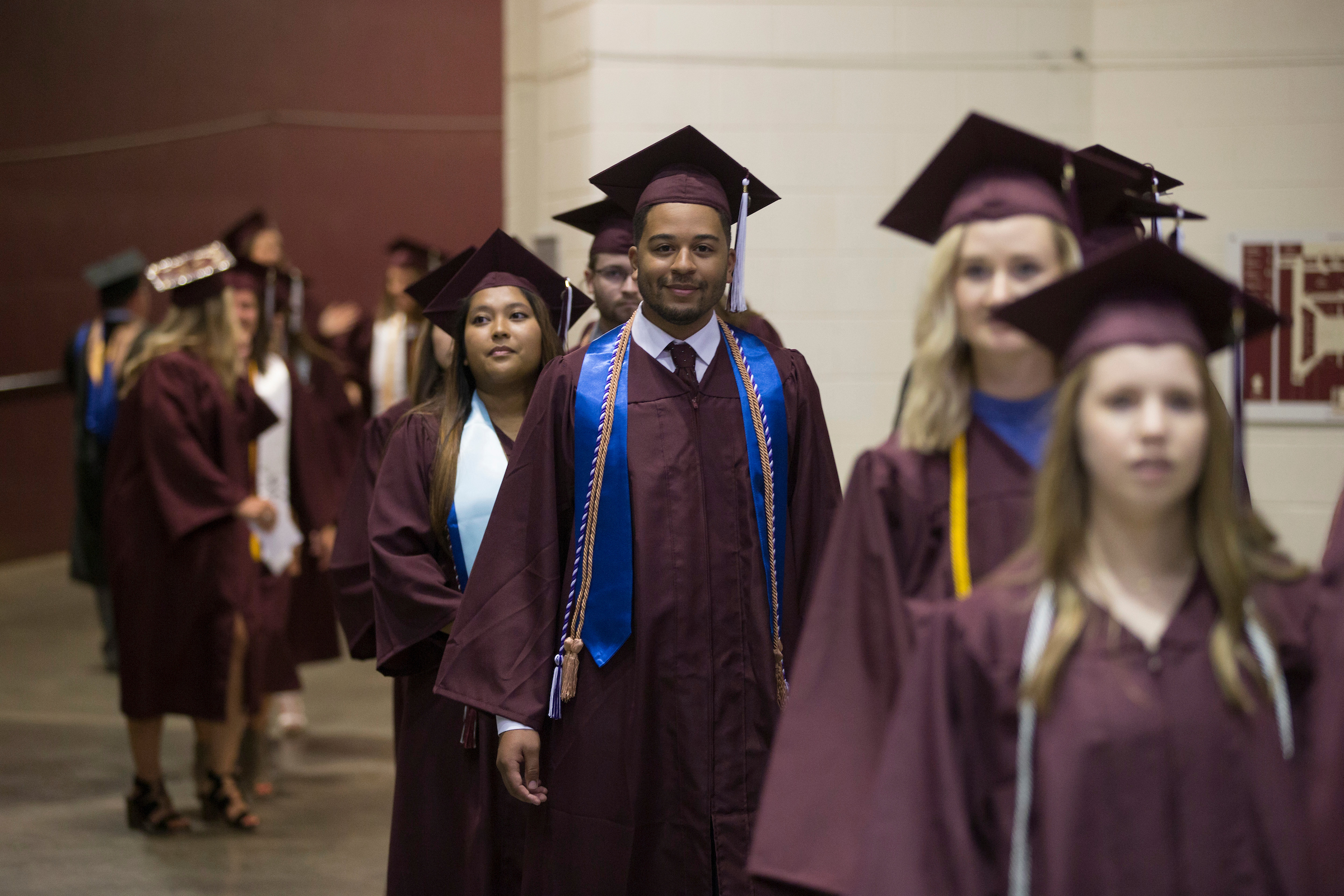 Students going to commencement