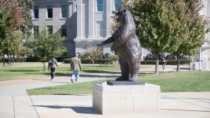 Bronze Bear statue at Missouri State