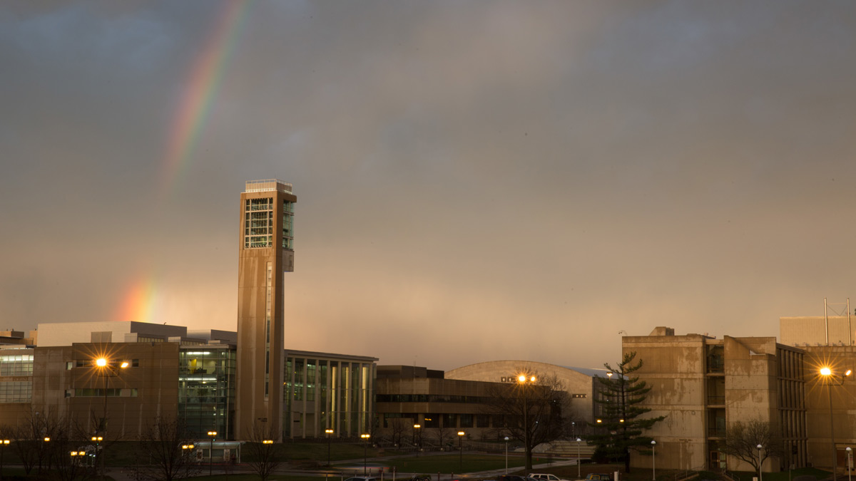 Rainbow over Meyer Library