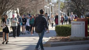 Students walking on the Missouri State University campus.