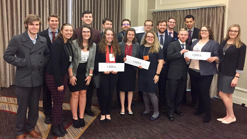 "MSU students holding up ""China"" signs at Model UN competition"