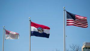 U.S., Missouri and MSU flags