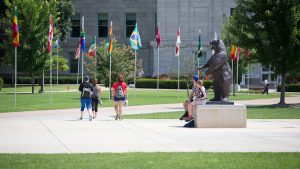 Students on the Missouri State University campus.