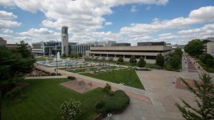 Aerial view of Meyer Library against a partly cloudy sky.