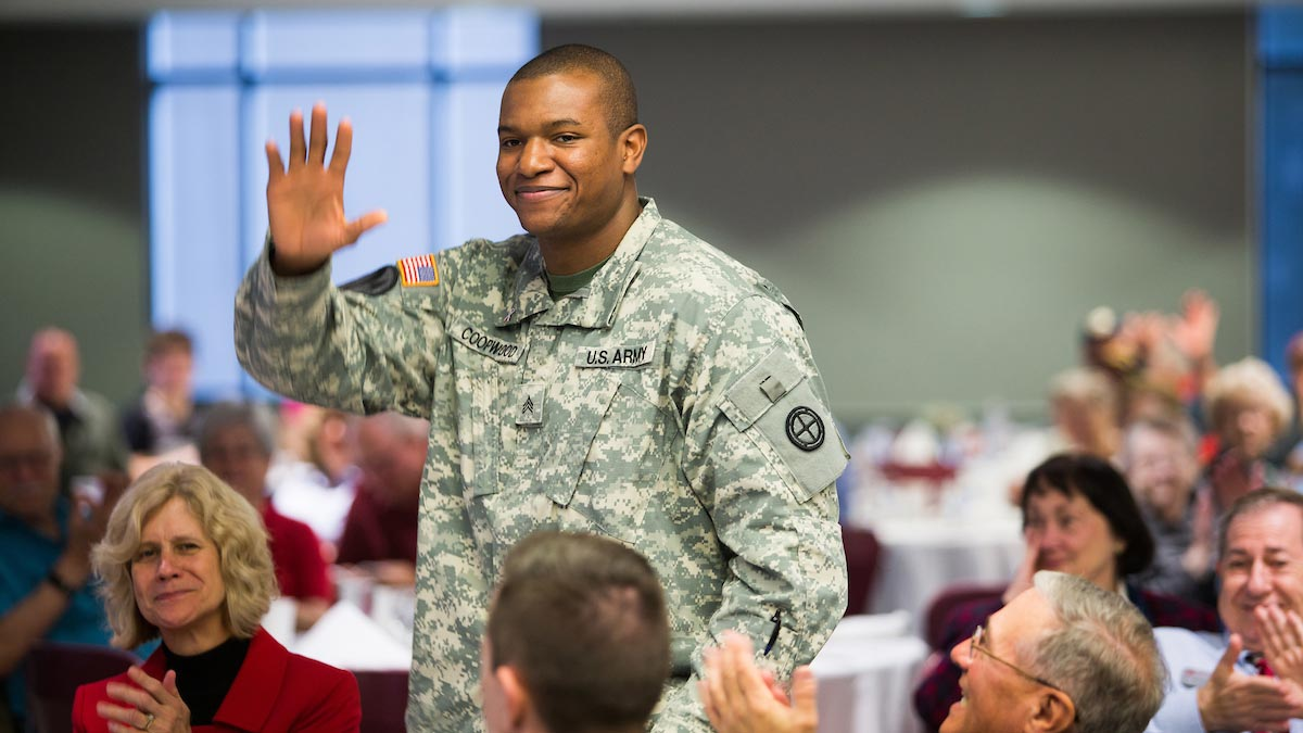 A U.S. Army veteran is honored at the Veterans Day breakfast.