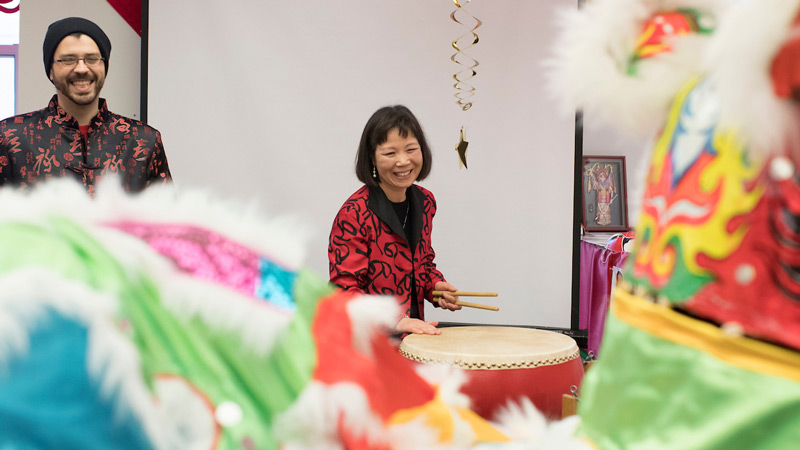 Staff at Chinese New Year celebration