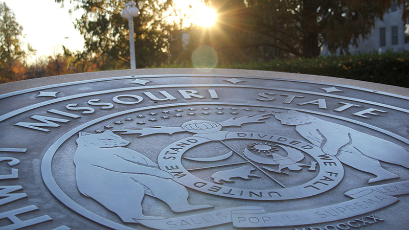 The Missouri State University seal outside of Carrington Hall.