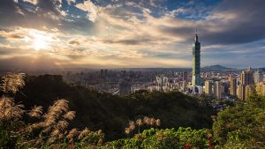 A panoramic view of Taipei skyline.