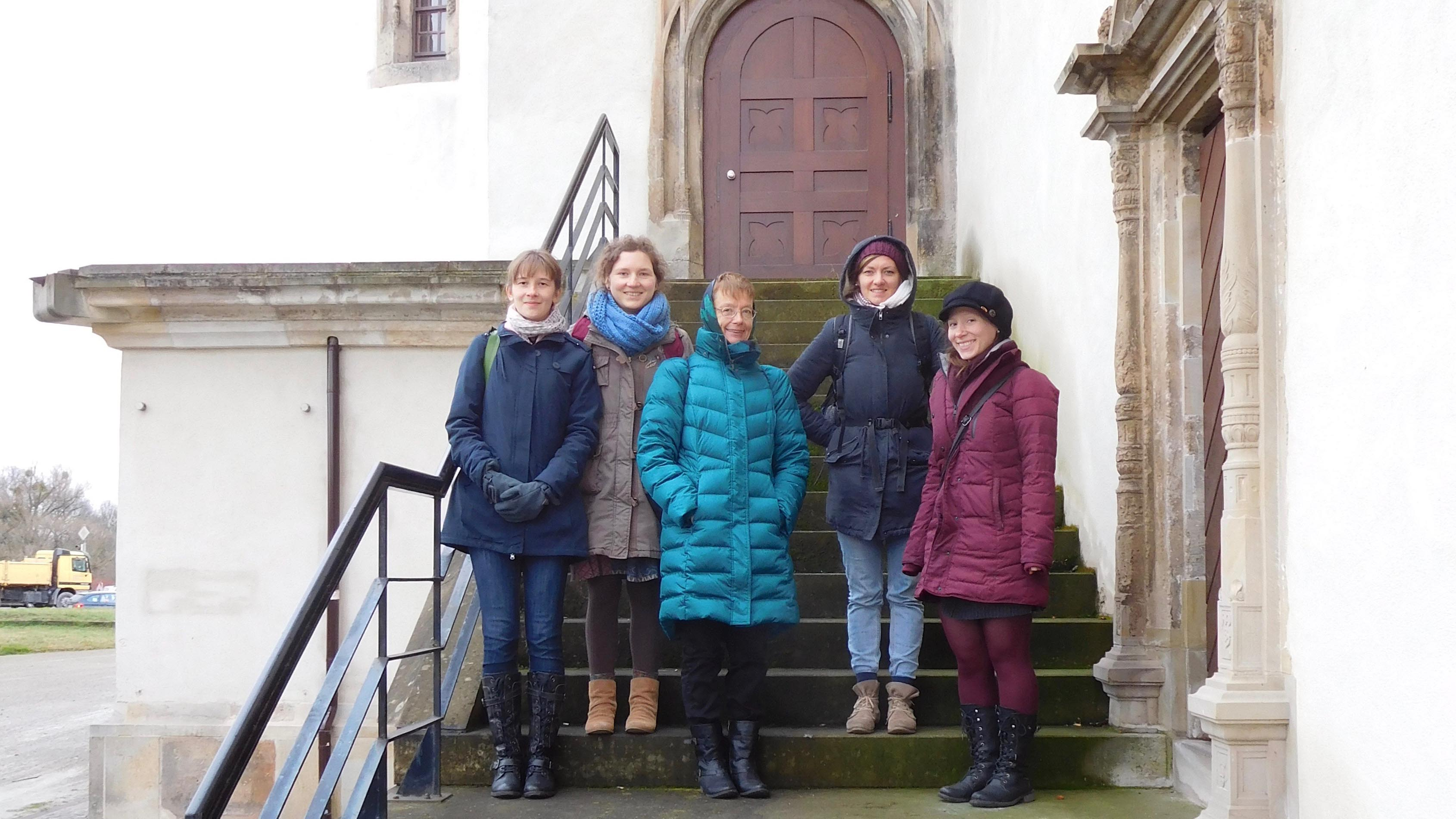 Dr. Austra Reinis with students in Dessau, Germany.