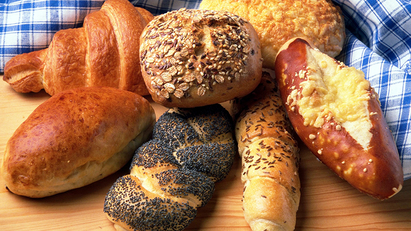 A variety of breads.