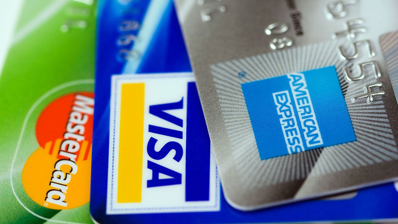 Different types of credit cards.