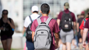 A student walks to class.