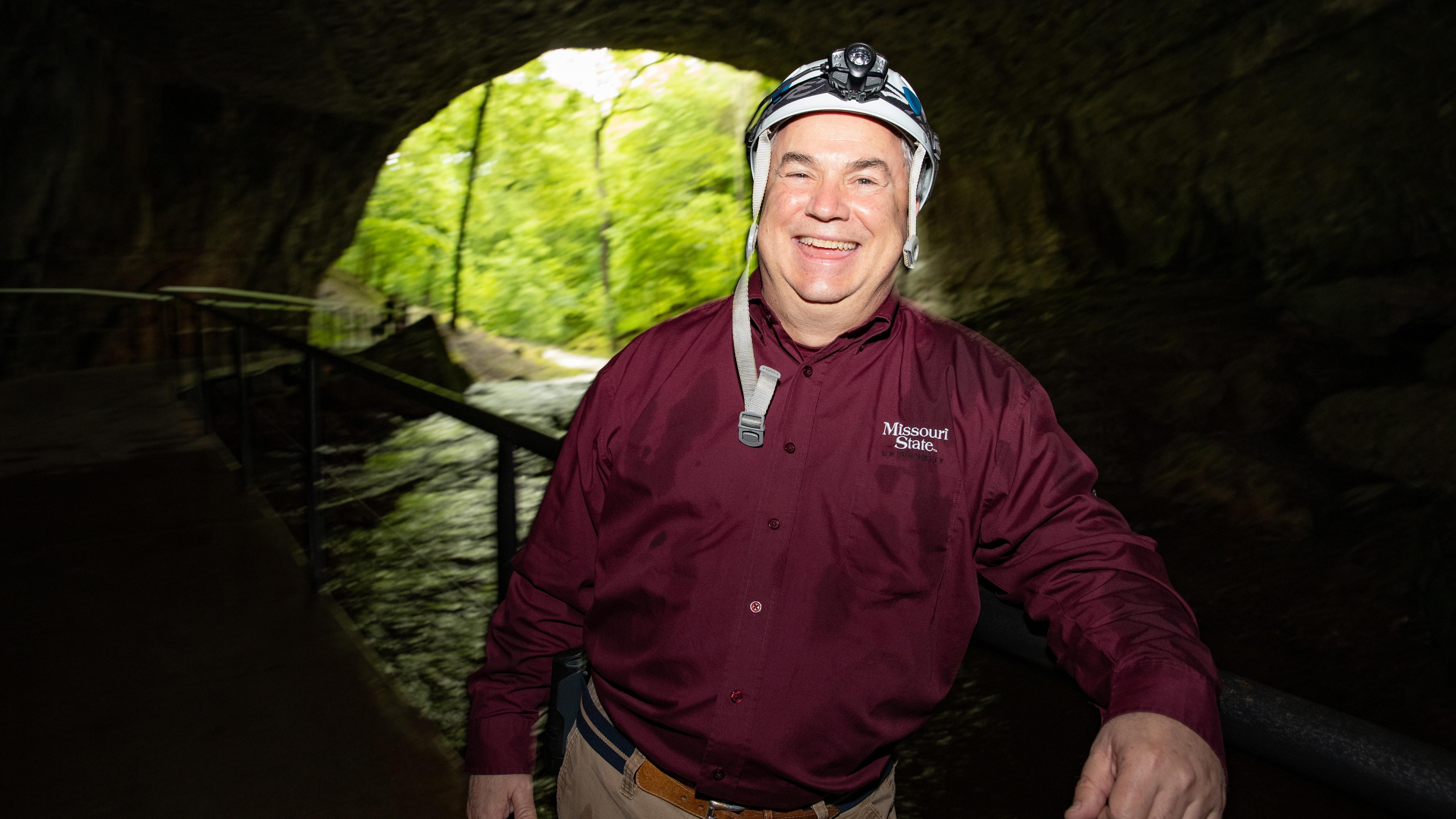 Doug Gouzie in a cave