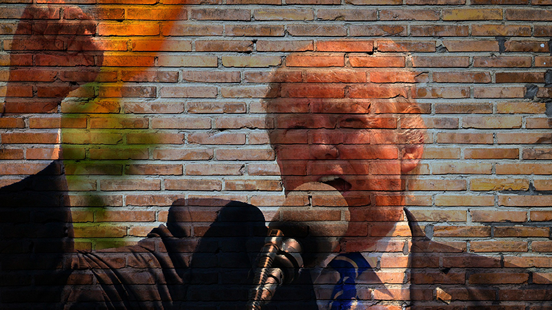 An image of President Donald Trump on a brick wall.