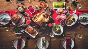 A Christmas feast on a table.