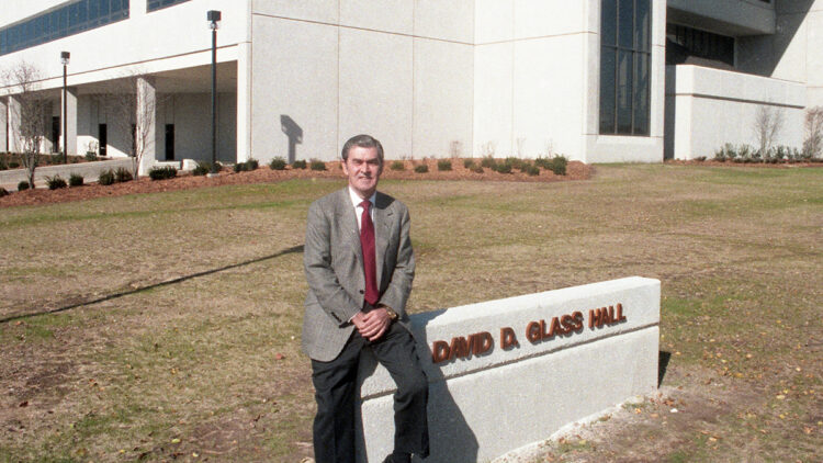 David Glass in front of Glass Hall 1987
