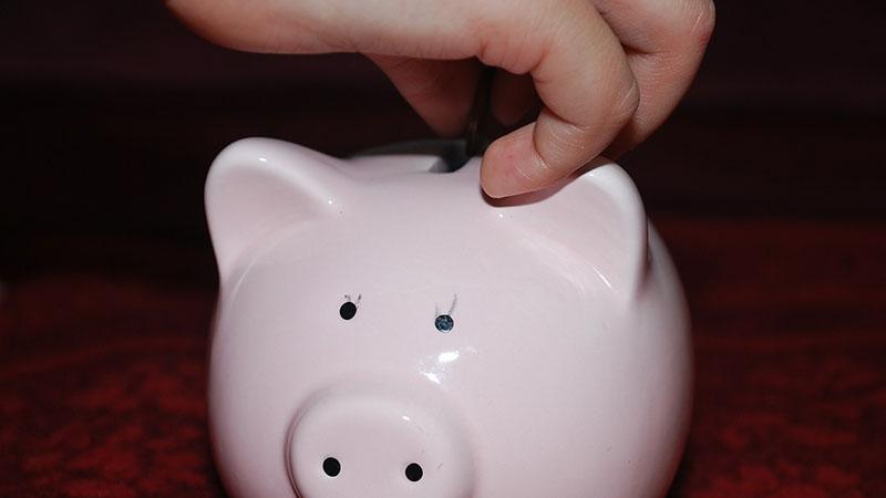 A hand putting money in a piggy bank.