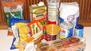 A variety of packaged foods.