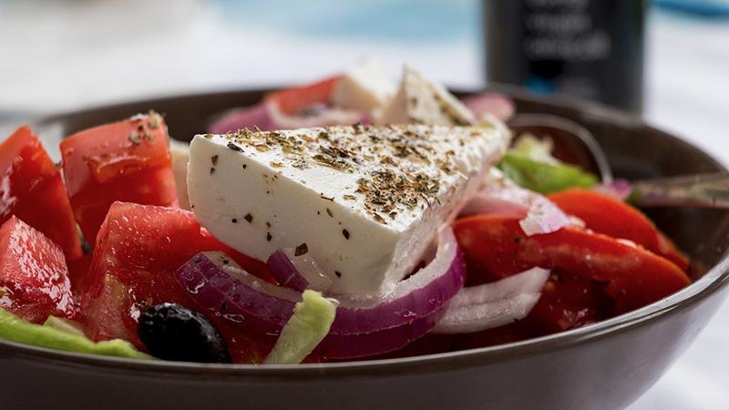 A bowl of Greek salad.