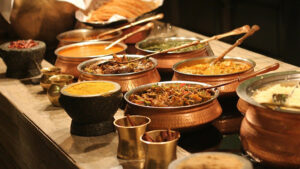 A buffet on Indian dishes.
