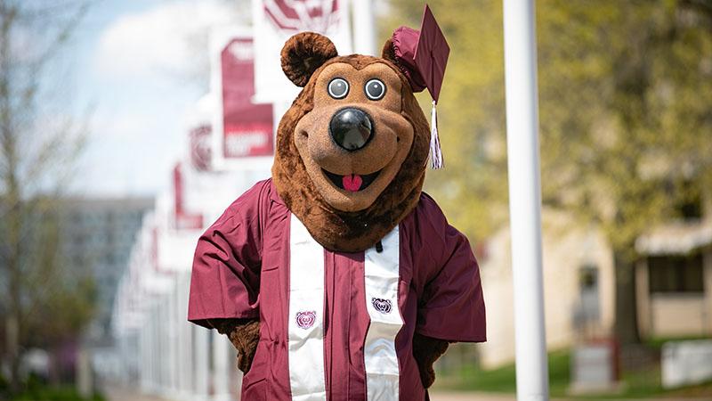 Boomer the Bear in graduation regalia on the Missouri State University campus.