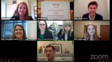 Screenshot of students in a video conference.