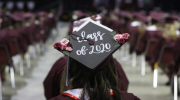 "A graduate's mortarboard with the phrase, ""Class of 2020."""