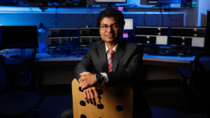 Dr. Iqbal in the Multimedia Systems and Communications Laboratory (MuSyC Lab).