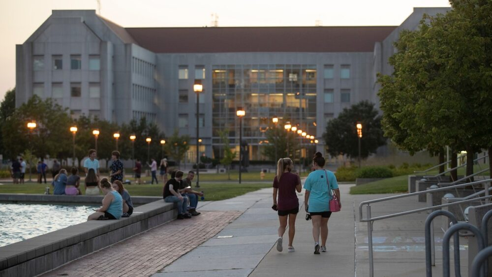 Students explore campus prior to the start of the fall semester.