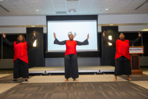 Dancers perform at the 2020 Black History Month Banquet