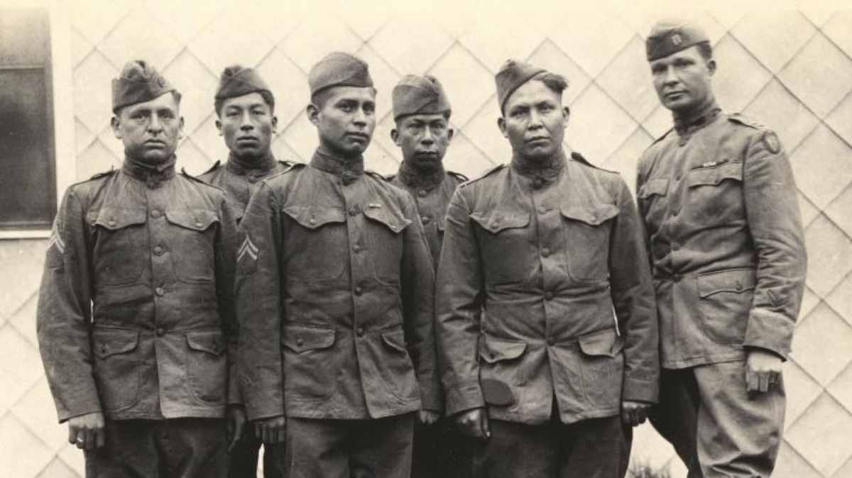Choctaw soldiers as a telephone squad who just returned from fighting. From left: Corporal Solomon Bond Louis, Private Mitchell Bobb, Corporal James Edwards, Corporal Calvin Wilson, Private James Davenport and Captain Elijah W. Horner.