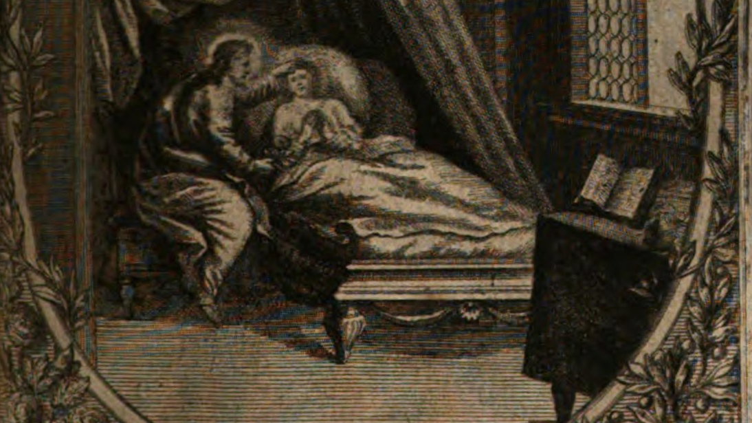An old illustration of a person tending to a sick person in bed.
