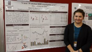 Megan Westwood with research presentation at conference.