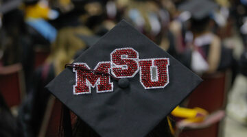 """A mortarboard with """"MSU"""" on it."""
