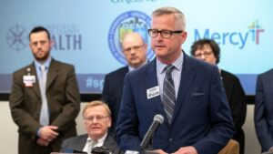 Clay Goddard speaks at a Springfield news conference about COVID-19.